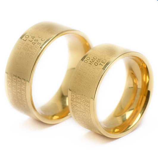 Premium Stainless steel blue bible cross couple ring Gold - Elizabeth Accessories, Stainless steel couple ring - Sunglasses and Eyeglasses