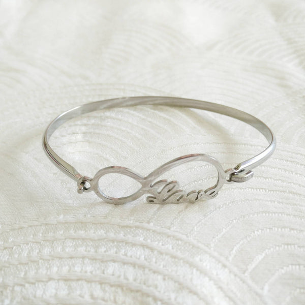 Stainless steel love infinity bangle -silver - Elizabeth Accessories, stainless steel bangle bracelet - Sunglasses and Eyeglasses