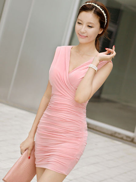 Sexy V neck pink dress - Elizabeth Accessories, apparels - Sunglasses and Eyeglasses