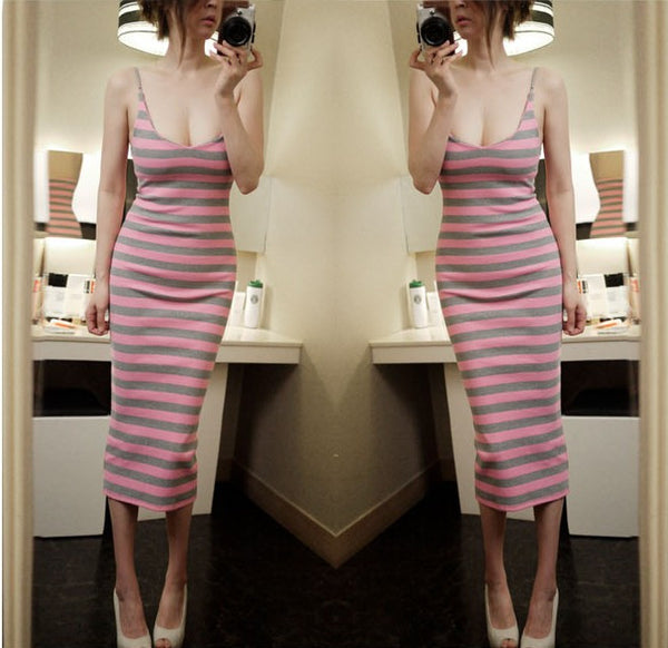 Pink stripe Cotton Blends Dress - Elizabeth Accessories, apparels - Sunglasses and Eyeglasses