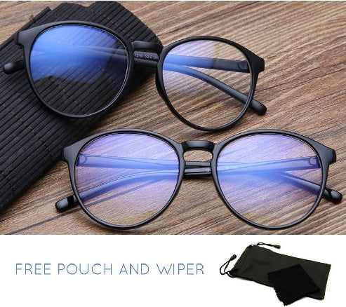 Anti rad round black computer glasses