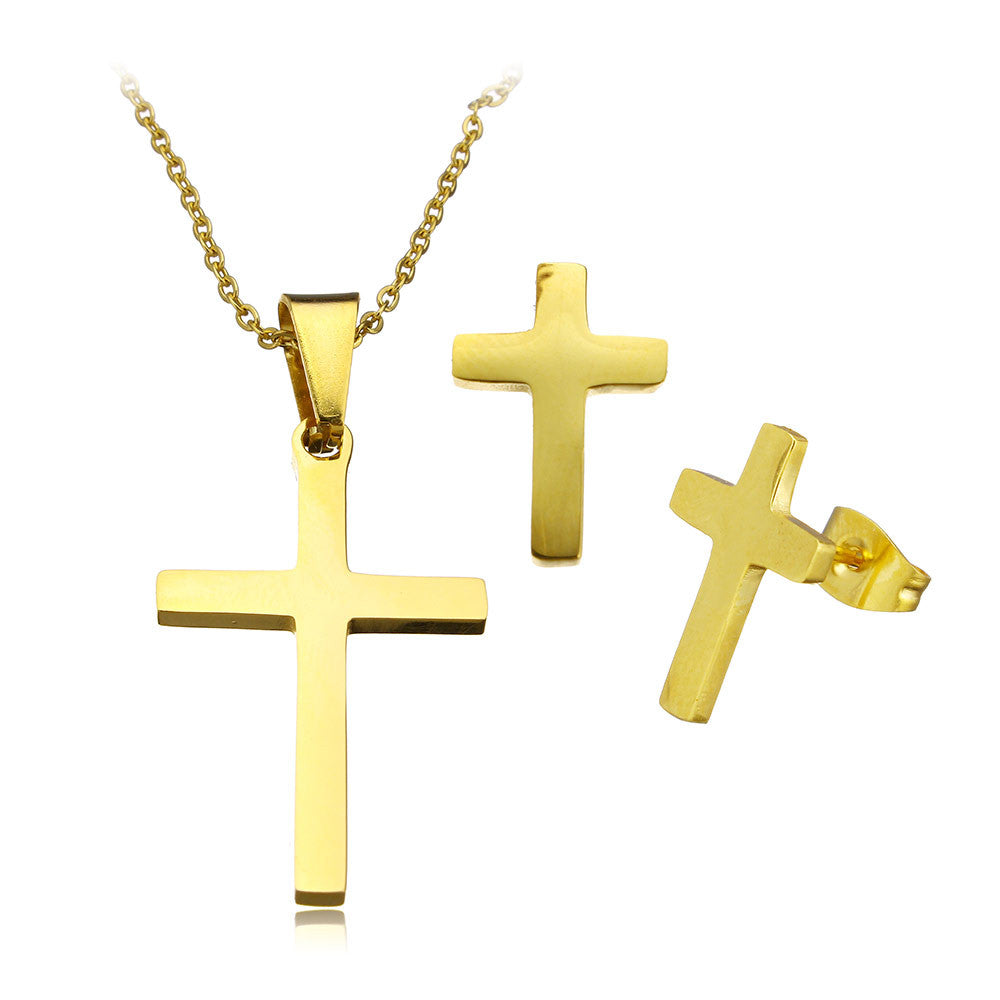 stainless steel gold plated cross necklace and earrings set - Elizabeth Accessories, Stainless steel jewelry - Sunglasses and Eyeglasses