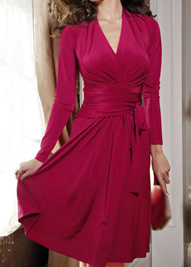 Long Sleeve V Neck Rose Pink Rayon Dress - Elizabeth Accessories, apparels - fashion Accessories
