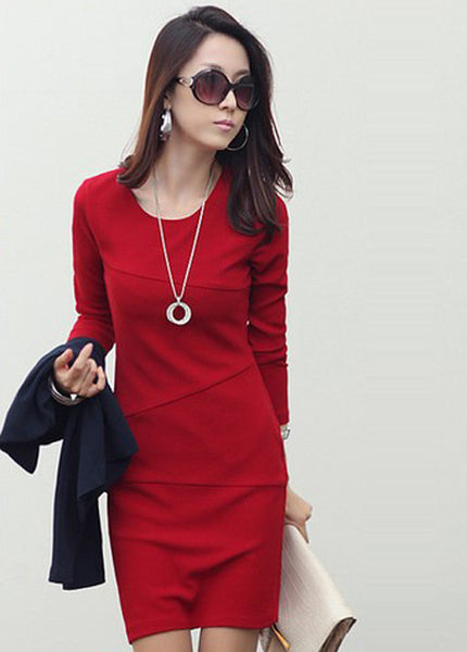 Red Round Neck Long Sleeve Patchwork Dress - Elizabeth Accessories, apparels - Sunglasses and Eyeglasses