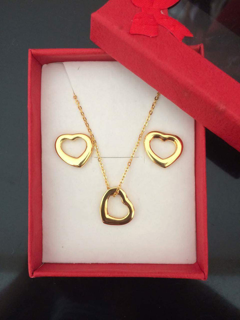 Premium stainless steel gold plated heart charm necklace and earrings set - Elizabeth Accessories, Stainless steel jewelry - Sunglasses and Eyeglasses