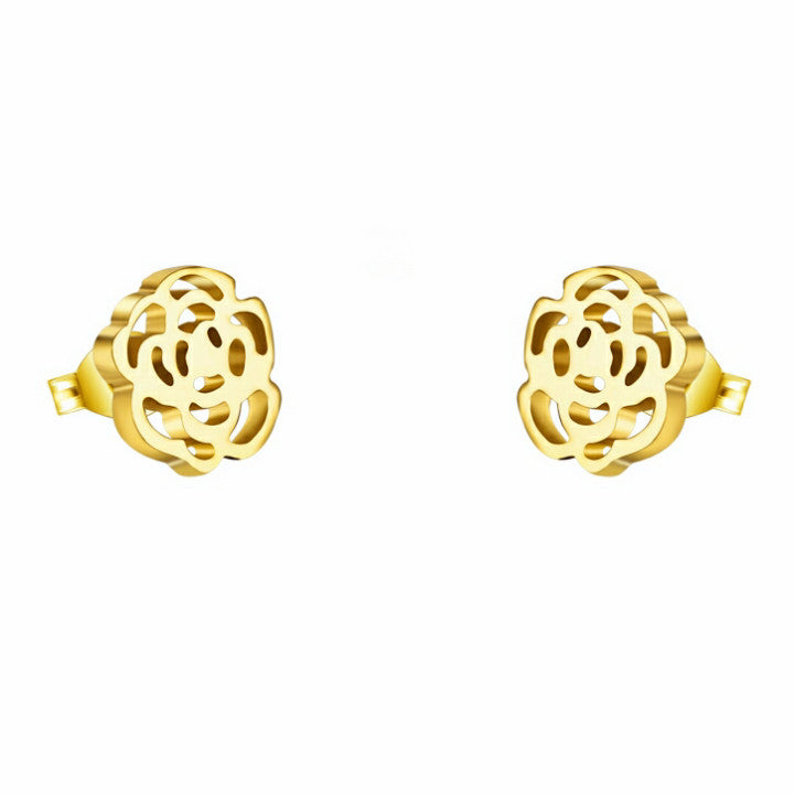 Stainless steel gold plated rose earrings - Elizabeth Accessories, Stainless steel jewelry - Sunglasses and Eyeglasses