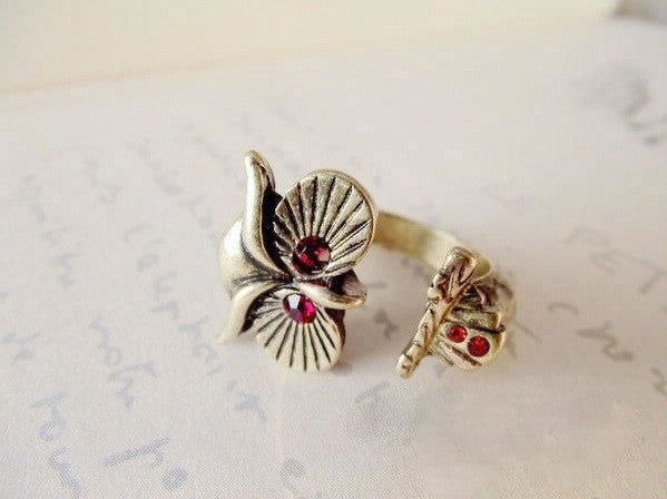 owl retro red eye ring opening - Elizabeth Accessories, Ring - Sunglasses and Eyeglasses