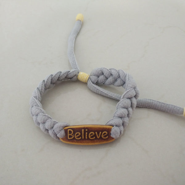 Statement Paracord Bracelet - Believe - Elizabeth Accessories, Bracelet - fashion Accessories
