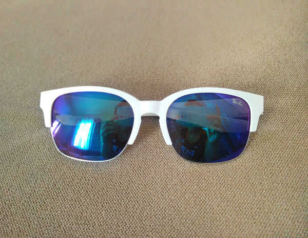 White frame mirrored sunglasses