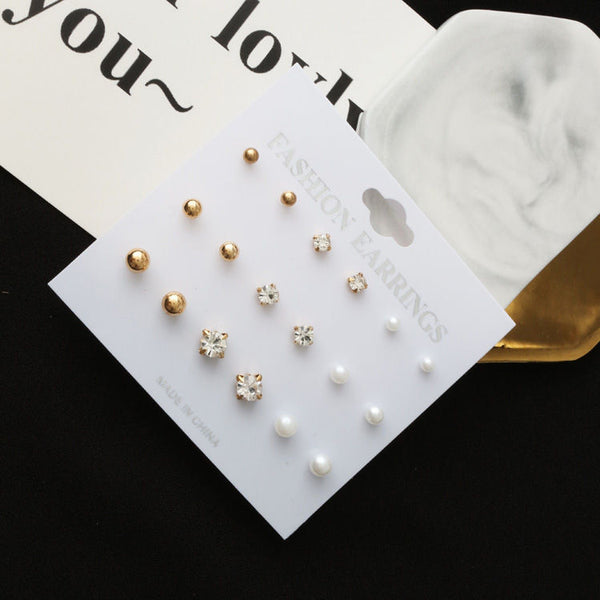 9 earrings stud set D6 - Elizabeth Accessories, Earrings - Sunglasses and Eyeglasses