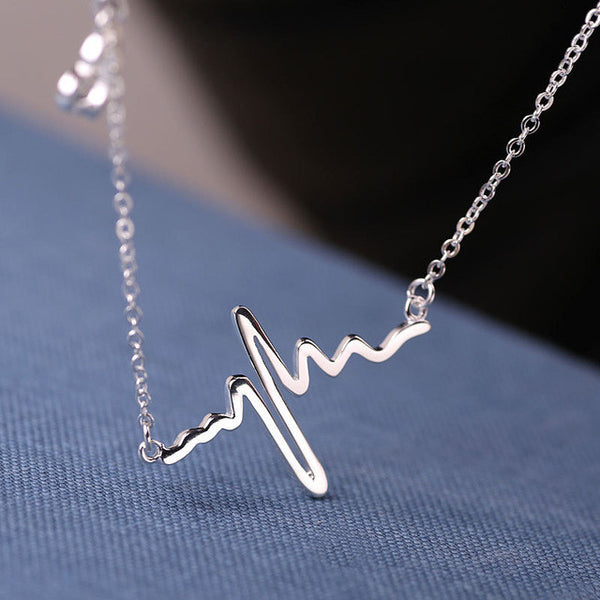Stainless steel heartbeat necklace -white - Elizabeth Accessories, Stainless steel jewelry - fashion Accessories