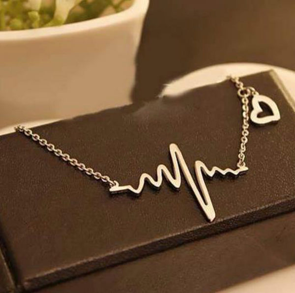 Stainless steel heartbeat necklace - Elizabeth Accessories, Stainless steel jewelry - Sunglasses and Eyeglasses