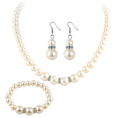 Imitation Pearl Rhinestone Set - Elizabeth Accessories, Bracelet - fashion Accessories