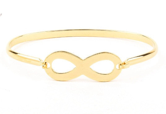 Stainless steel gold plated classic infinity bangle - Elizabeth Accessories,  - Sunglasses and Eyeglasses