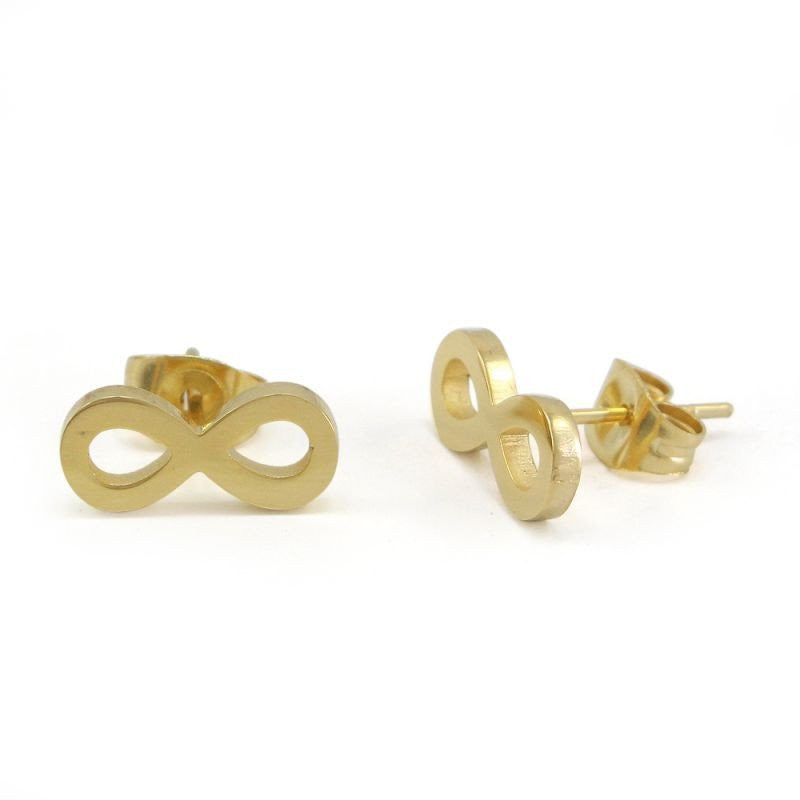 Stainless steel gold plated infinity earrings