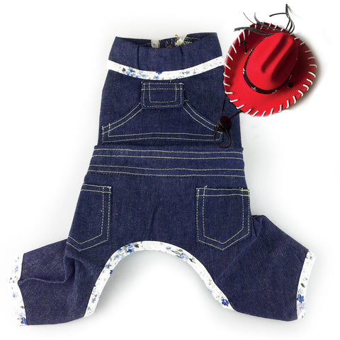 Buck-Arooohh Bob Blue Denim Jeans Dog Overalls