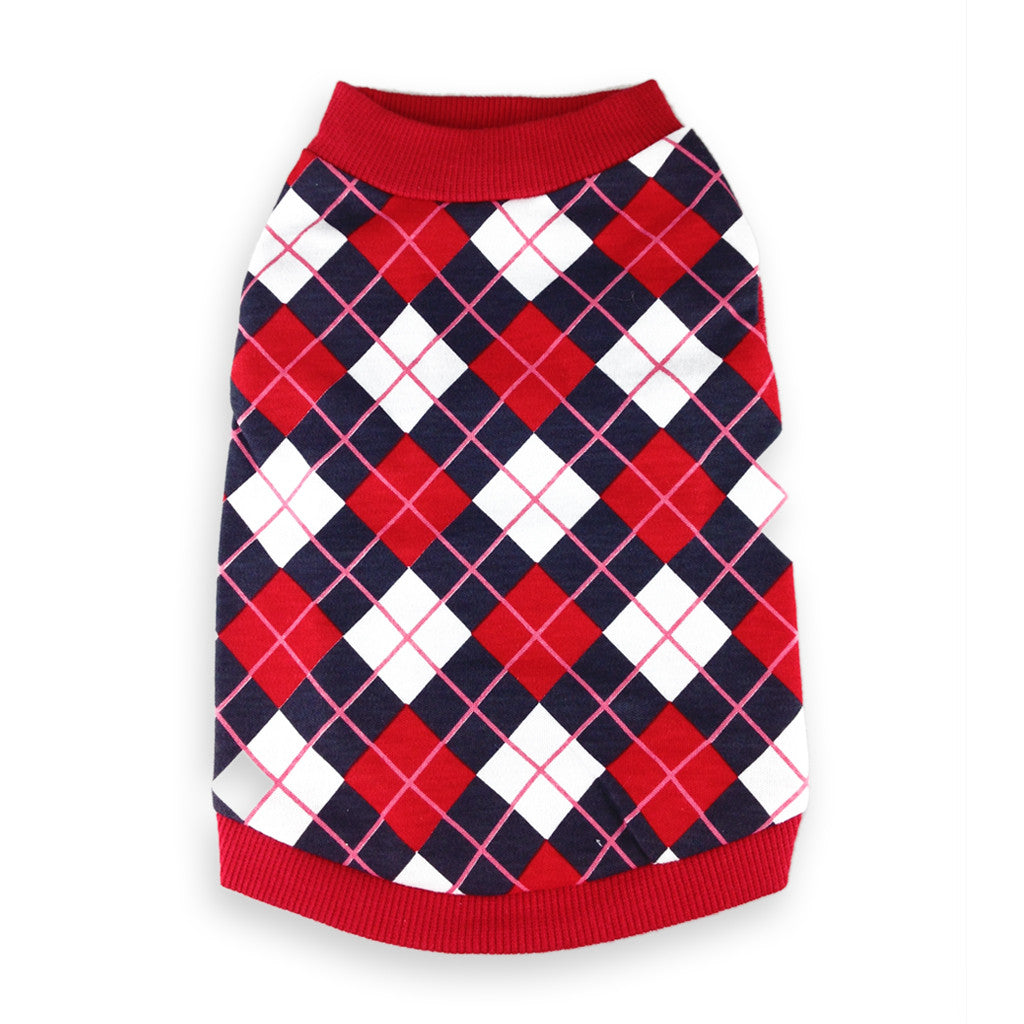 Freshman at Dogsford Red Argyle Dog Shirt
