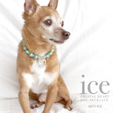 Ice-Mint Pearl and Heart Dog Collar Necklace, Dog Jewelry