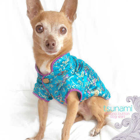 Ocean Blue Kimono Button Up Dog Shirt- Tsunami