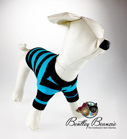 Yappy Yacht Club - Aqua Marine Blue Striped Dog Shirt