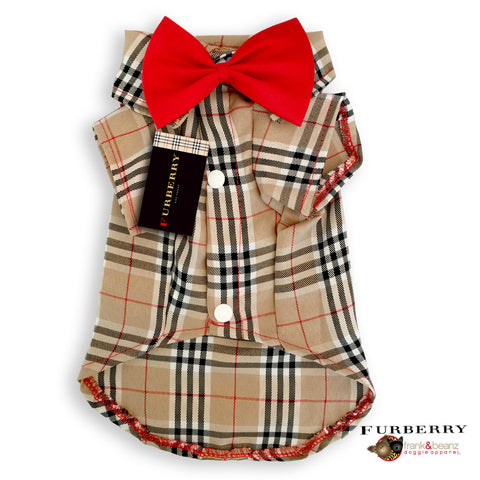 Furberry- Plaid Pattern Dog Shirt with Red Bowtie