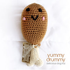 Dog Toy- Yummy Drummy, Soft Crochet