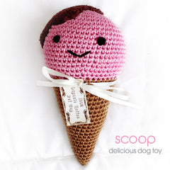 Squeaky Dog Toy- Organic Cotton, Scoops