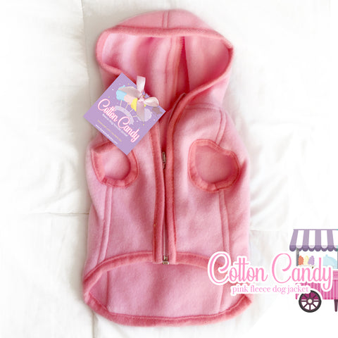 Pink Fleece Dog Hoodie, Dog Jacket, Dog Clothes - Candy