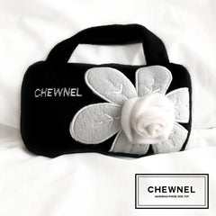 Chewnel Black & White Flower, Designer Dog Purse, Dog Toy