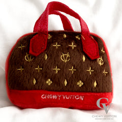 Chewy Vuitton Designer Dog Toy Mini Purse