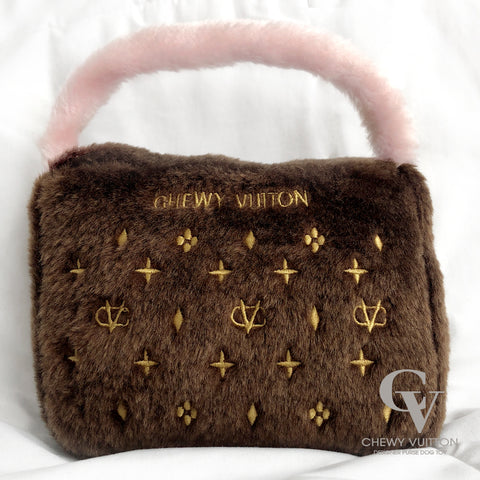 Chewy Vuitton Designer Dog Toy Purse