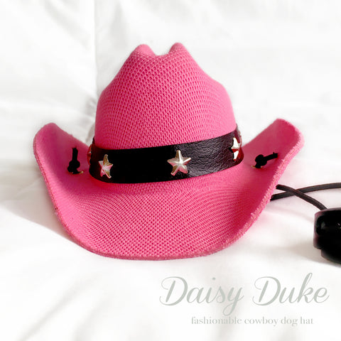Daisy Duke Pink Cowboy Dog Hat