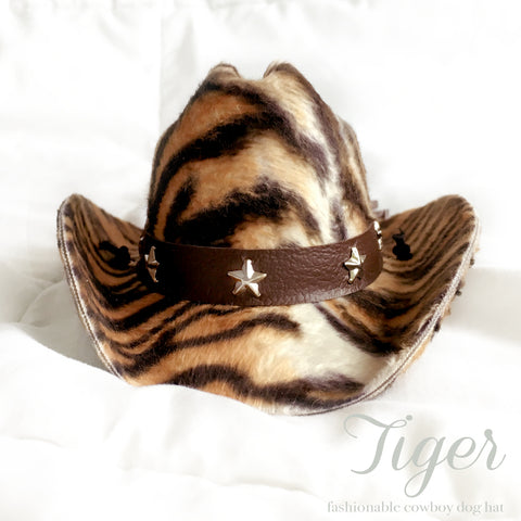 Tiger Print Cowboy Dog Hat