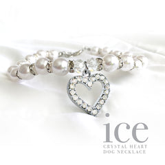 Ice- Heart and Pearl Rhinestone Dog Collar Necklace