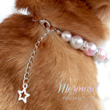 Mermaid Diamond Star Pearl Dog Collar Necklace