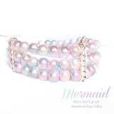 Mermaid-Multicolor Diamonds and Pearls Dog Collar Necklace