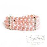 Elizabeth- Pink Diamonds and Pearls Dog Necklace, Dog Collar