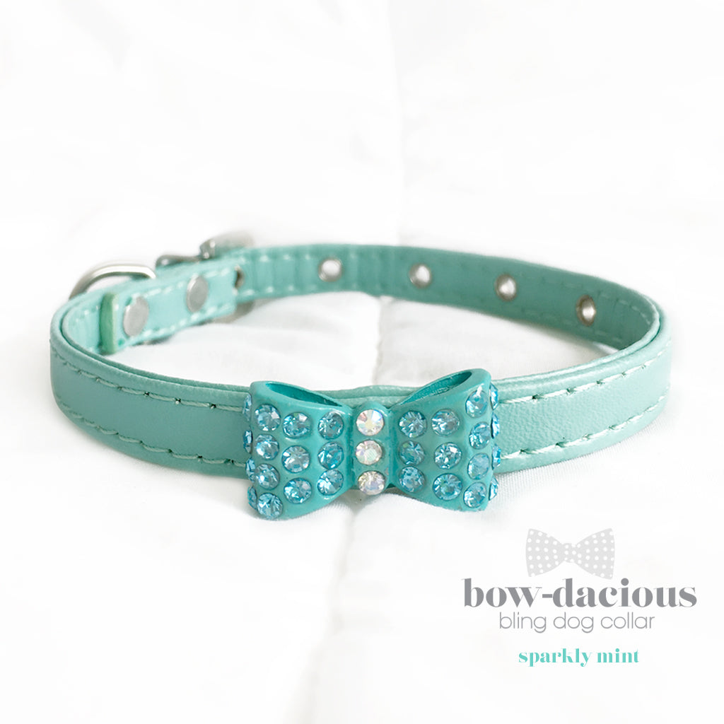 Mint Green Bowtie Bling Dog Collar- Sparkle Green