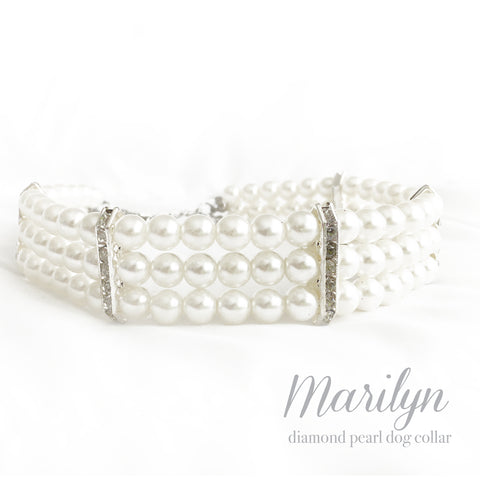 Marilyn- Diamonds and Pearls Dog Collar Necklace