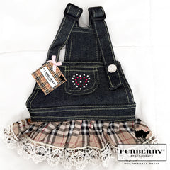 Furberry, Rhinestone Heart Overall Jean Dog Dress
