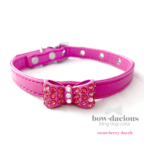 Pink Bowtie Dog Collar- Strawberry Dazzle