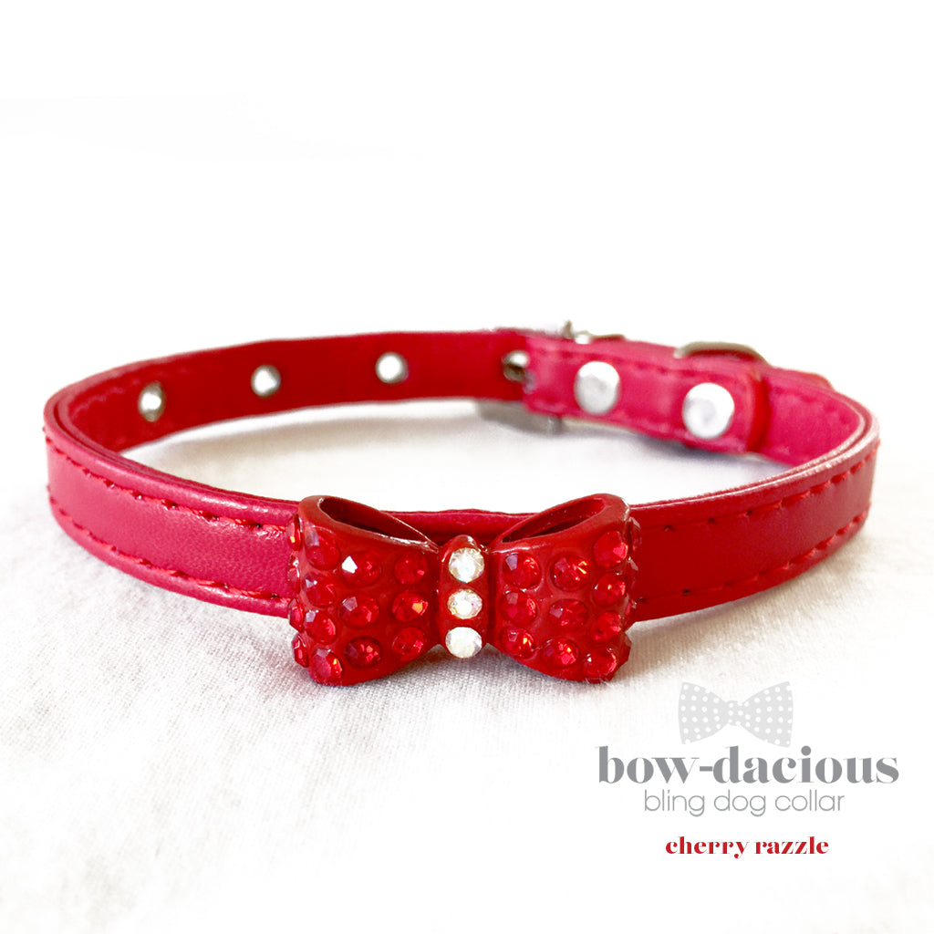 Cherry Razzle- Red Rhinestone Bowtie Bling Dog Collar