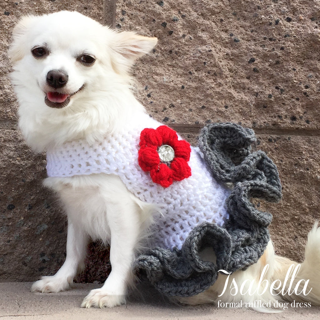 Isabella Red Rose Frilly Crochet Knit Dog Dress Frank And Beanz