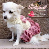 Strawberry Sparkle Crochet Dog Dress