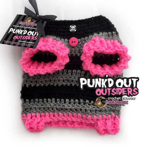 Winter Punk'd out Crochet Dog Boy Sweater Pink, Gray and Black Skulls