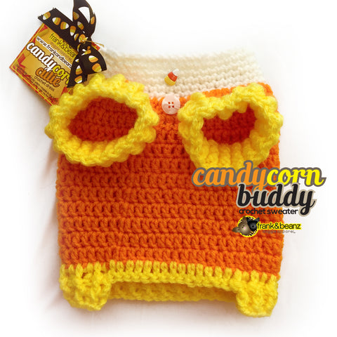 Candy Corn Buddy Dog Clothes Sweater Halloween Dog Costume