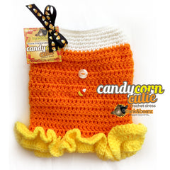 Candy Corn Cutie Crochet Dog Dress