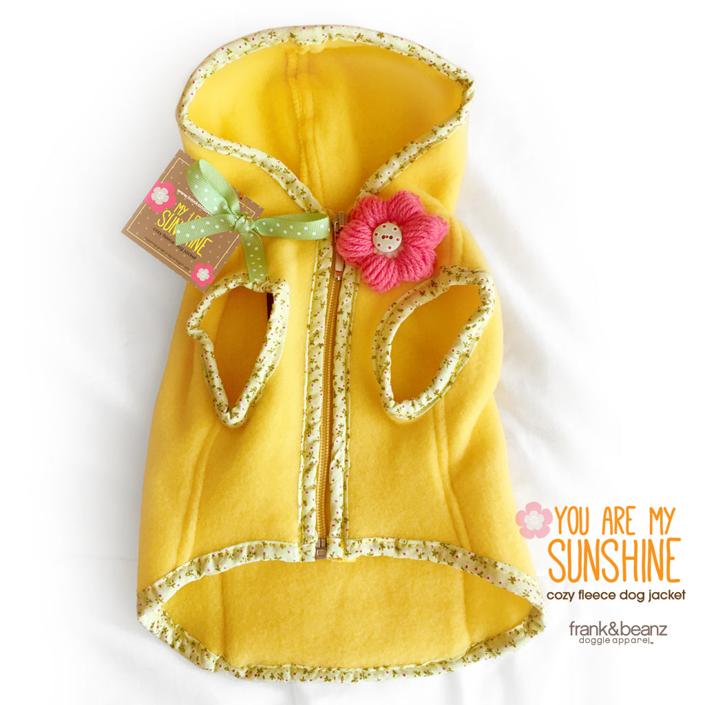 You Are My Sunshine Yellow Fleece Dog Hoodie
