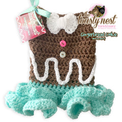 Gingerbread Cookie Mocha Mint Crochet Holiday Dog Dress