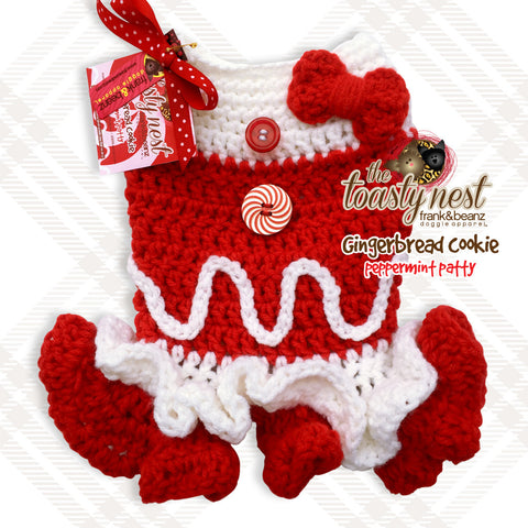 Gingerbread Cookie Peppermint Patty Dog Crochet Holiday Dress